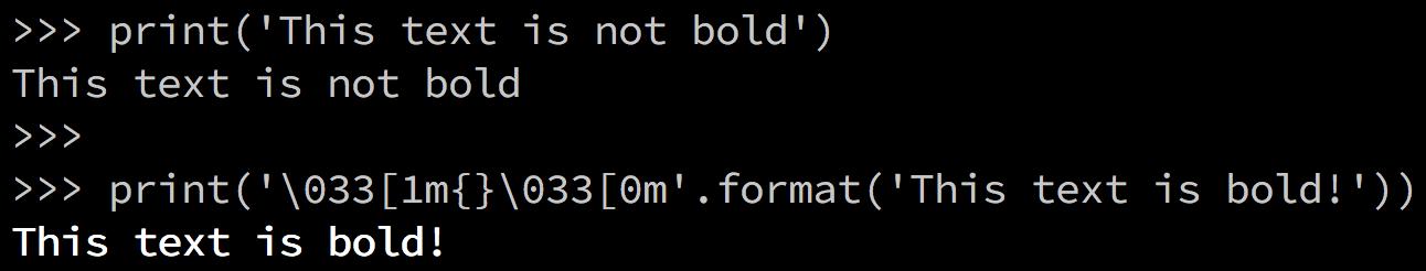 Python Terminal Printing Bold Text